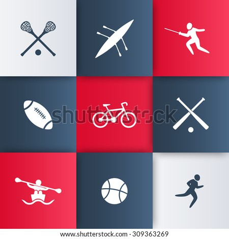College sports icons, vector illustration, eps10, easy to edit - stock vector