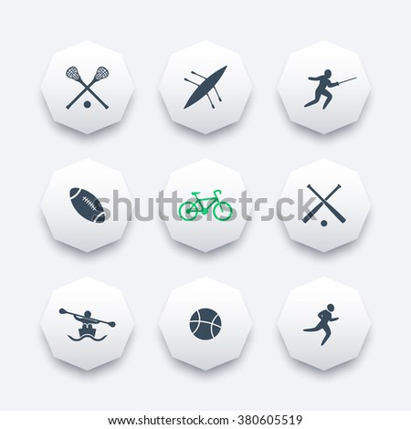 College sports octagon icons set, sports pictograms, vector illustration - stock vector
