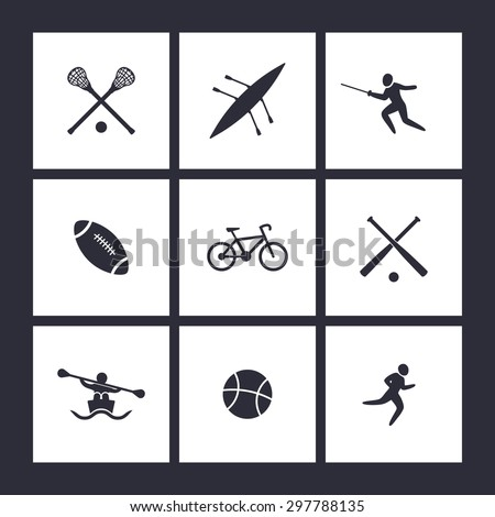 College sports, square flat icons, vector illustration, eps10, easy to edit - stock vector