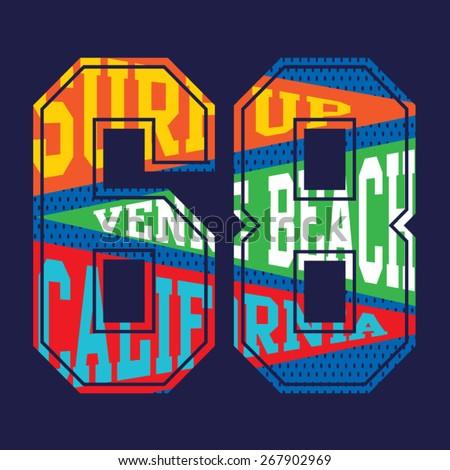 College surf typography, t-shirt graphics, vectors - stock vector