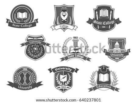 College University Academy Vector Icons Isolated Stock Vector
