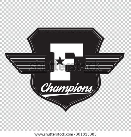 College university champions division team sport label typography, t-shirt graphics for apparel - stock vector