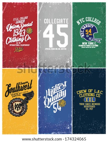 college varsity collection - stock vector