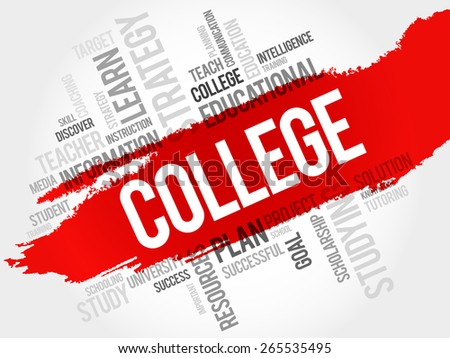 COLLEGE word cloud, education concept - stock vector
