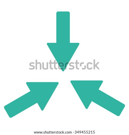 Collide Arrows vector icon. Style is flat symbol, cyan color, rounded angles, white background.