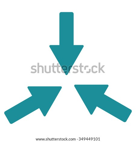 Collide Arrows vector icon. Style is flat symbol, soft blue color, rounded angles, white background.