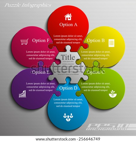 Coloful flower puzzle presentation infographic template with six explanatory text field for business statistics - stock vector