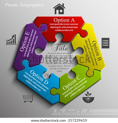 Coloful pentagon puzzle presentation infographic template with five explanatory text field for business statistics - stock vector