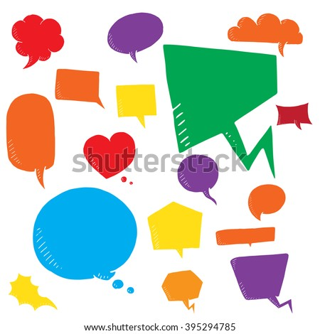 Coloful vector set of talk and think bubles, group of doodle speech bubble on white background - stock vector