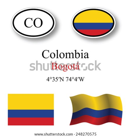 Colombia icons set against white background, abstract vector art illustration, image contains transparency - stock vector