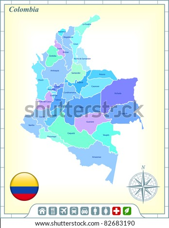 Colombia Map with Flag Buttons and Assistance & Activates Icons Original Illustration - stock vector