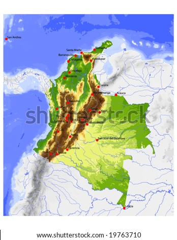Colombia. Physical vector map, colored according to elevation, with rivers, ocean depths and selected cities. Surrounding territory greyed out. 56 layers, fully editable. Data source: NASA - stock vector
