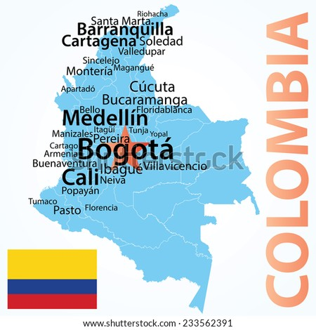 Colombia - vector map with largest cities, carefully scaled text by city population.