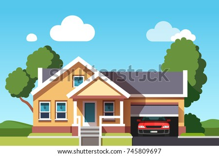 Colonial Neo Classical Architecture Style Mansion Cottage Building Suburban House With Car Garage Flat