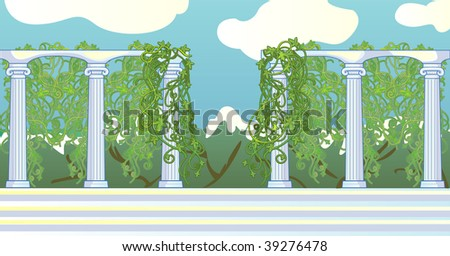 Colonnade twined  leans against mountains and the sky - stock vector