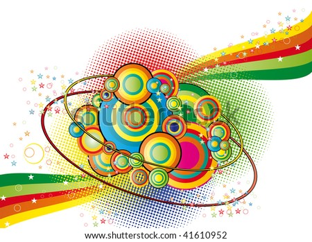 Color abstract background with circles and  stars