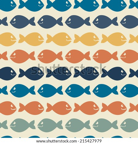Color abstract fish pattern.Background.Vintage Wallpaper