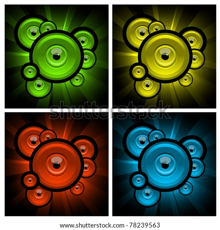 color abstract illustrations of explosions with eyes and balls - stock vector