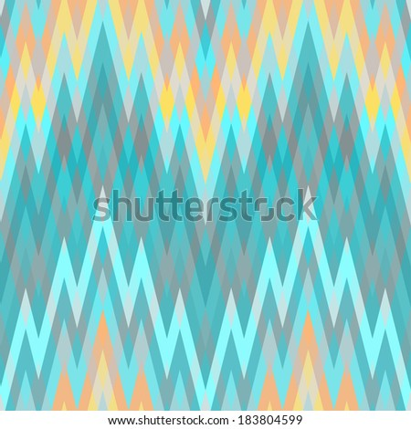 Color Abstract Retro Vector Striped Background, Fashion Zigzag Seamless Pattern of Blue and Orange Stripes - stock vector