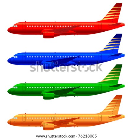 color aircraft technical drawings in vector format - stock vector