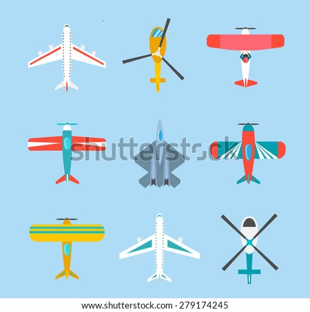 Color airplanes and helicopters icons set, top view, vector illustration, isolated. Travel by air, aircraft flight, air transport, plane transportation, passenger plane, fighter plane  - stock vector