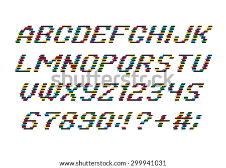Color Alphabet font and numbers from Stripes - stock vector