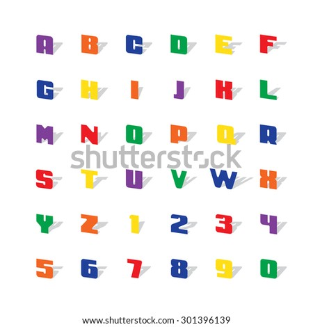 color alphabet with shadow vector illustration