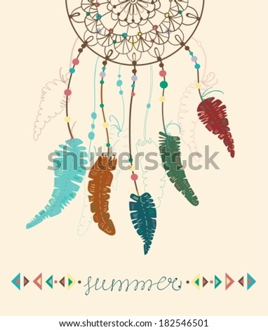 Color American Indians dreamcatcher with bird feathers and geometrical figures and lettering - summer, VECTOR - stock vector