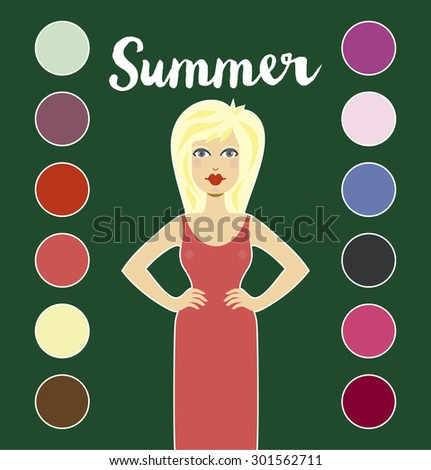 Color analysis. Summer type of female appearance. System of contrast analysis