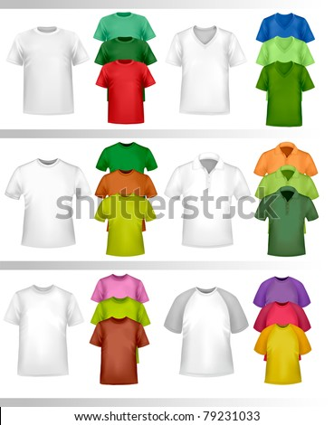 Color and white t-shirt design template. Vector illustration.