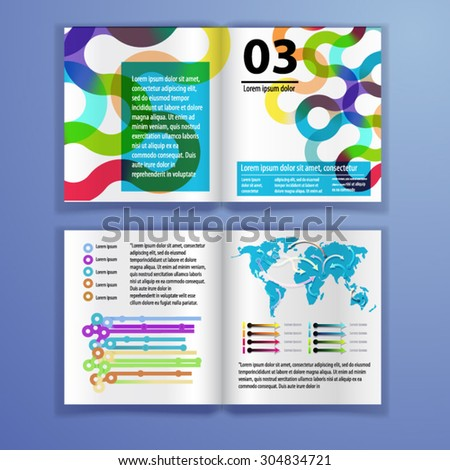Color application brochure template design for corporate identity with watercolor splash and circle shapes. Stationery set - stock vector