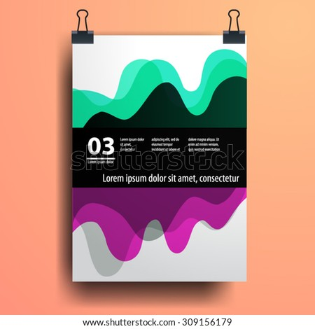 Color application poster or magazine cover template design for corporate identity with geometry shapes. Stationery set - stock vector