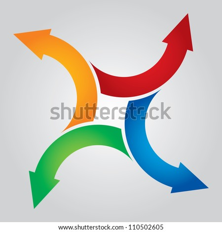 Color arrows pointing in different directions - stock vector
