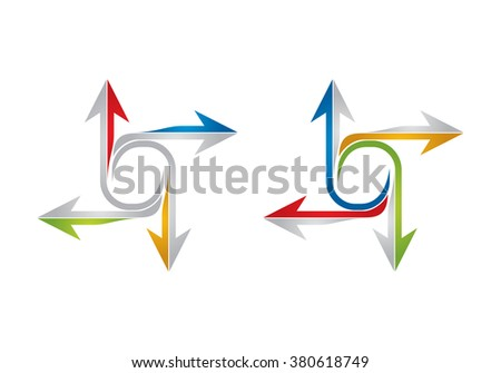 Color arrows set, abstract illustration for web graphics - stock vector