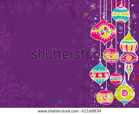 color background with christmas balls,  vector illustration - stock vector