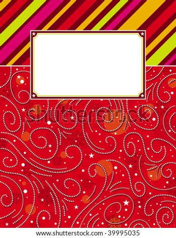 color  background with christmas elements,  vector illustration - stock vector