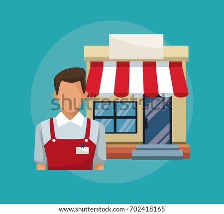 color background with salesman and facade store awning