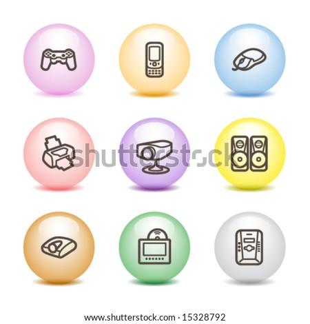 Color ball web icons, set 21 - stock vector