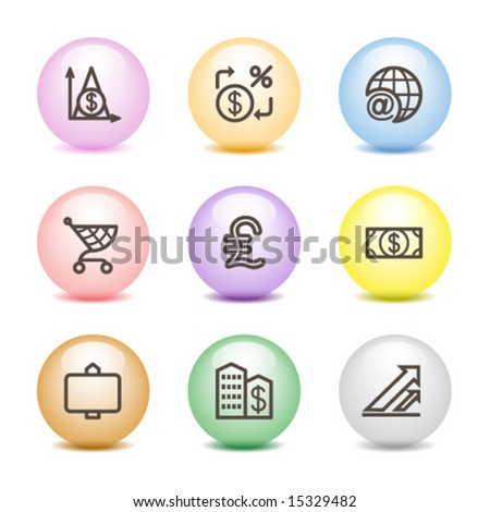 Color ball web icons, set 23 - stock vector
