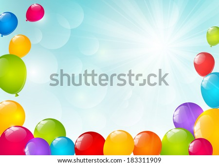 Color balloons on sunny background - stock vector