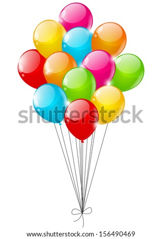 Color balloons on white background - stock vector