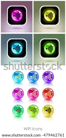 Color balls with wifi symbol app icon. Useful for wi-fi cafes, wireless internet zones, terminals, etc.