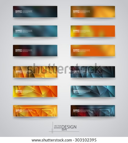 Color banners set with polygonal and blurry abstract shapes on gray background. Vector illustration. - stock vector