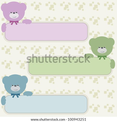 Color bear teddy with vertical banners