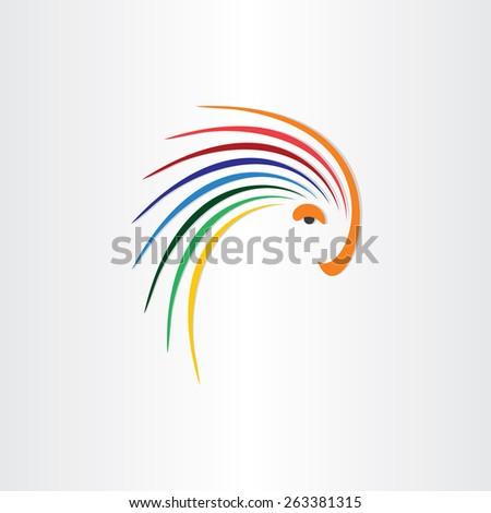 color bird parrot icon design - stock vector