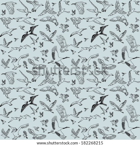 Color birds set seamless pattern The seamless pattern with big set of different wild birds. Isolated on gray background.  Vector illustration. - stock vector