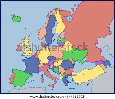 Color Blank Map of Europe