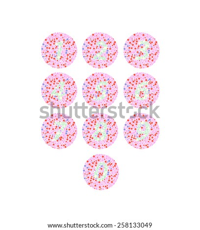 color-blind numbers illusion vector - stock vector