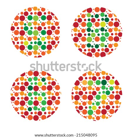 color blind Test, daltonism,color blindness disease, perception test, - stock vector