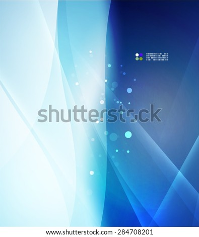 Color blue and light, waves and lines. Abstract background - stock vector